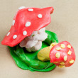 Stock Photo: Two plasticine fly agaric