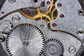 Steel gears of old mechanical watch — Stock Photo