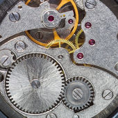 Clockwork of wristwatch with gears, spring — Stock Photo