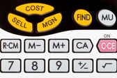 Cost, sell, margin keys of financial calculator — Stockfoto