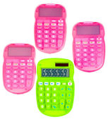 Pink and green calculators — Stock Photo