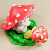Two plasticine fly agaric — Stock Photo