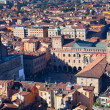 Aerial view on Piazza Maggiore from Asinelli tower in Bologna — Stock Photo