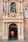 Bronze statue of Bolognese Pope in Accursio Palace. Bologna. — Stock Photo