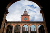 Tower and courtyard of Archiginnasio palace, Bologna — Stock Photo