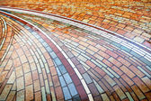 Wet pied brick pavement — Stockfoto
