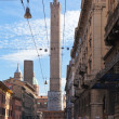 Asinelli tower and via Santo Stefano in Bologn — Stock Photo