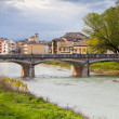 Stock Photo: View of bridge through Parmstream, Italy