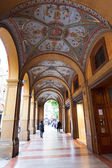 Arcade on piazza Cavour in Bologna — Stock Photo