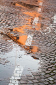 Rainy autumn puddle — Stock Photo