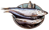 Spicy salted sprats in ceramic bowl — Stock Photo