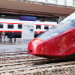 European high-speed train on railway station - Stock Photo