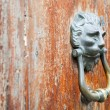 Ion head shaped door handle on shabby door — Stock Photo