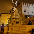 Fountain of Neptune in Bologna at night - Stock Photo