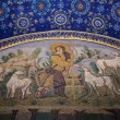 Good Shepherd seated among sheep mosaic of the galla placidia ma - Stock Photo