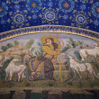 Good Shepherd seated among sheep mosaic of the galla placidia ma - Stok fotoğraf