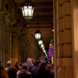 In Bologna arcade in evening — Stock Photo