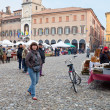 Open market on piazza Grande in Modena, Italy — Stock Photo