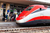European intercity train on railway station — Stock Photo