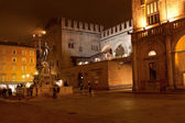 Fountain of Neptune and Re Enzo Palace in Bologna at night — Stock Photo
