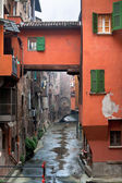 Window on urban canal on Via Piella, in Bologna — Stock Photo