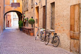 Old small stone medieval street in historical center — Stock Photo