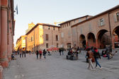 Piazza Giuseppe Verdi in Bologna at warm autumn evening — Stock Photo