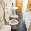 Photo: Interior of narrow lavatory room