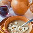 Local Ferrara soup with warm croutons — Stock Photo