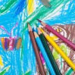 Stock Photo: Several colored pencils on children picture