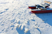 Frozen river boat in cold winter day — Stock Photo