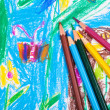 Stock Photo: Several colored pencils on children draw background