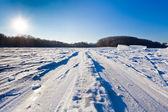在寒冷的冬天天雪场滑雪轨道 — Stock fotografie
