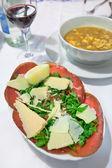 Carpaccio with parmesan cheese — Stock Photo
