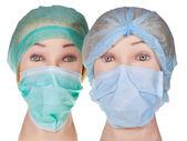 Tête mannequin médecin portant chapeau chirurgical textile et masque — Photo