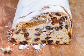 Stollen cake with dried fruits and marzipan — Stock Photo