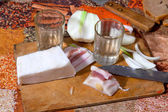 Vodka, salty lard and fresh onion — Stockfoto