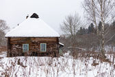 Snow covered wooden rustic house — Stock Photo