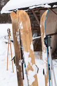 Wide wooden hunting skis — Stock Photo