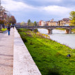 View of bridge through Parma stream, Italy — Stockfoto