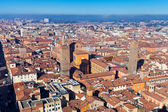 Aerial bird eye view of bologna towers — Stock Photo