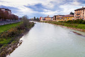 View of bridge through Parma river, Italy — Stock Photo