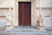 Doors of medieval Modena Cathedral — Stock Photo