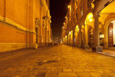 Via Altabella in Bologna, Italy at night — Stock Photo