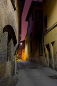 Medieval street in Bologna at night — Stock Photo