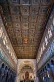 Wooden ceiling of nave Sant Apollinare Nuovo in Ravenna — Stock Photo