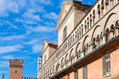 Fronton of Ferrara Duomo from piazza Trento Trieste — Stock Photo