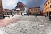 Piazza Maggiore with Palazzo dei Banchi and Basilica di San Petr — Stock Photo