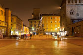 Panorama of Piazza del Nettuno in Bologna at night — Stock Photo