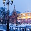 View of Alexander Garden in winter snowing evening, Moscow — Stock Photo